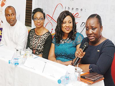 Team Lead, Event and Sponsorship, FCMB, Matthew Obiazikwor (left); Brand and Strategy Manager, Gem Publications, Kehinde Adollo, Chief Executive Officer/Publisher, Gem Woman and Gem Man Magazine, Bola Olawale and Assistant Vice President, Retail and Commercial  Banking, Victoria Island Zone of FCMB, Wunmi Kalejaiye  at a press conference on tomorrow's event