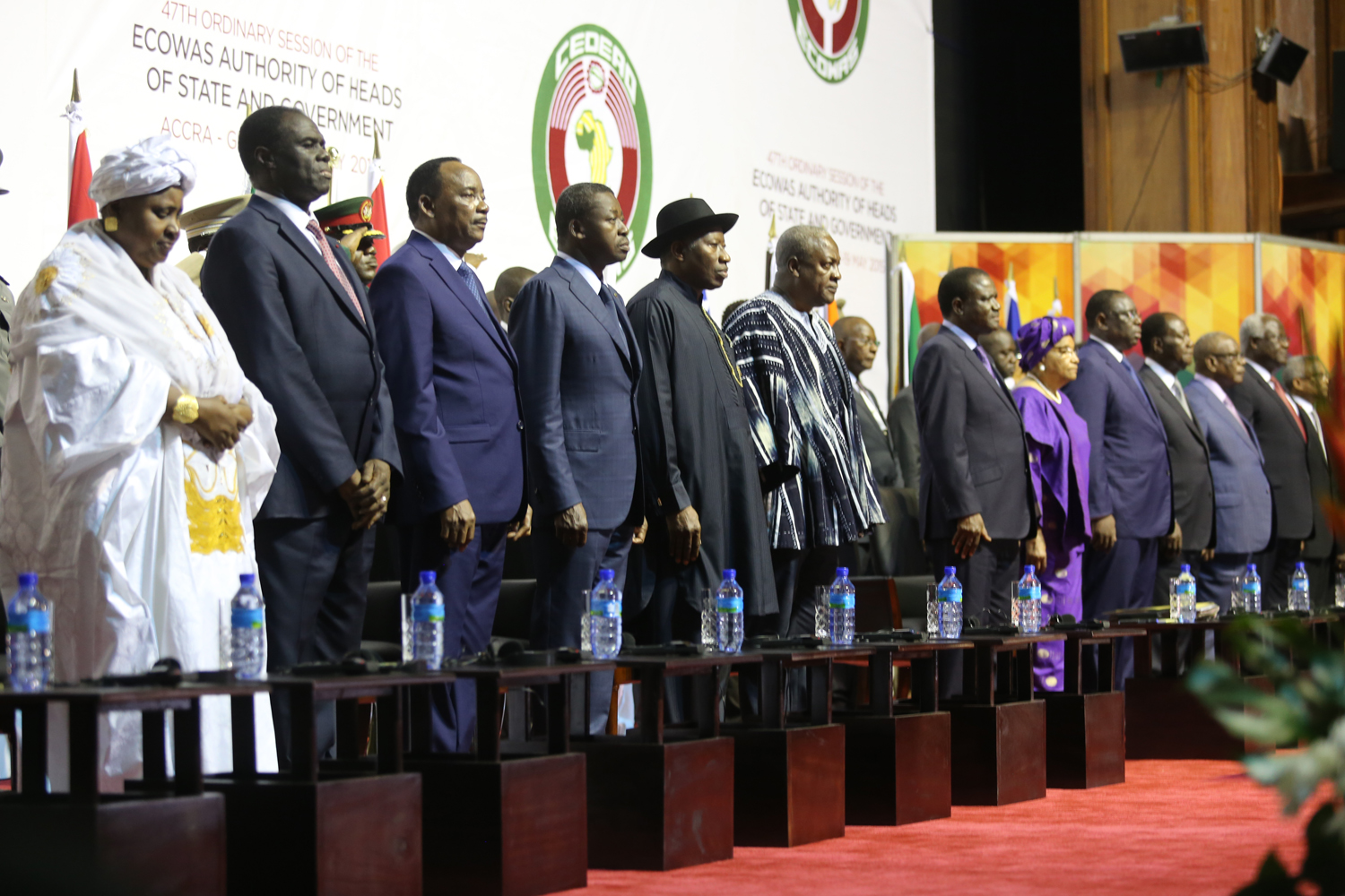 GROUP PICTURE OF THE ECOWAS HEADS OF STATE AT THE 47TH, ORDINARY SESSION OF THE ECOWAS AUTHORITY OF HEADS OF STATE AND GOVERNMENT IN ACCRA GHANA