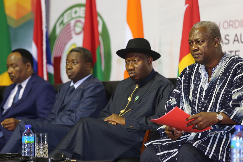 From left Niger Republic President Muhamdou Issoufou, Togolese President Faure Gnassingbe, President Goodluck Jonathan and the Ghana President,Ecowas Chairman President John Mahama