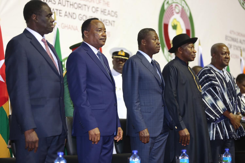 From left Bokina Faso President Micheal Assumed, Niger Republic President Muhamdou Issoufou, Togolese President Faure Gnassingbe, President Goodluck Jonathan and the Ghana President,Ecowas Chairman President John Mahama