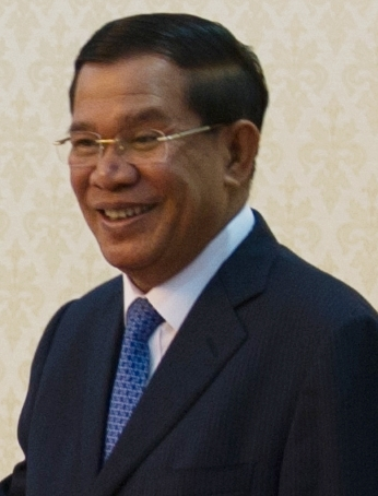 Secretary Clinton Makes Greets Cambodia's Prime Minister Hun Sen