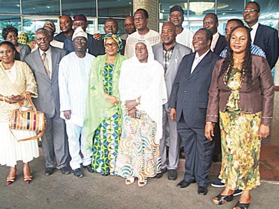 The Permanent Secretary, Federal Ministry of Environment, Mrs. Nana Fatima Mede flanked by the Director, Department of Climate Change, Dr. Samuel Adejuwon on the left and other participants at the three- day Post Lima Workshop and Meeting of the Inter-ministerial Committee on Climate Change held in Abuja, last week