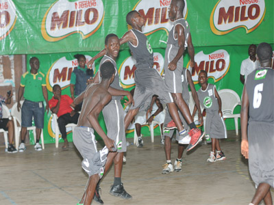 Don Domingo Secondary School Warri, Delta State players celebrating their qualification for the Milo Basketball final. The team will meet Ilupeju Grammar School, Lagos, in the final of the competition.