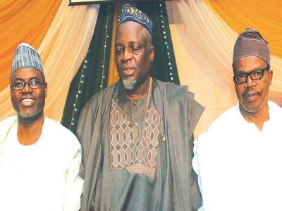 Prof. Abdul Wahab Egbewole (left); Prof. Is-haq Oloyede and Alhaji Rafiu Ebiti
