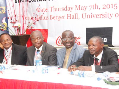 L-R Prof Ralph Akinfeleye FNIPR, Chairman, Centre of Excellence, University of Lagos; Barrister Joseph Okonmah, Chairman, NIPR Lagos Chapter; Dr. Rotimi Oladele, FNIPR, President/ Chaiirman Governing Council NIPR and Dr Rotimi Olatunji, Acting Dean, School of Comm. Lagos State University at the 2nd NIPR Lagos Stakeholders' Conference held at the University of Lagos, with the Theme: The Nigerian Consumer- Rights, Duties & Obligations