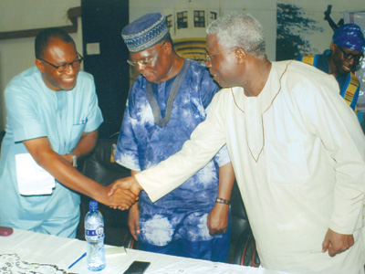 Lead Paper Presenter, Prof. Isidore Diala; Chairman of Symposium, Prof. Femi Osofisan and Prof. Niyi Osundare on whose behalf the festival is instituted… in Ibadan