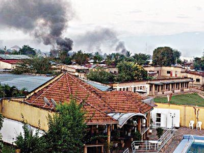 The signs of heavy fighting are seen over Bujumbura