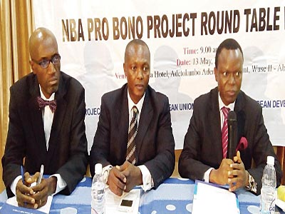 First Vice President of the Nigeria Bar Association (NBA), Mr Francis Ekwere (left); National cordinator, Legal Defence and Assistance Project (LEDAP), Mr. Chino Obiagwu and Professor Yemi Akinseye-George of the Centre for Social Legal Studies addressing the audience at the NBA Pro Bono workshop in Abuja last Wednesday