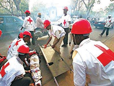 Red Cross volunteers at work
