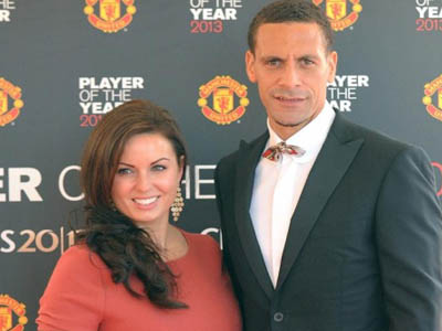 Rebecca and Rio Ferdinand at a football awards ceremony in 2013. Photograph: Martin Rickett/PA