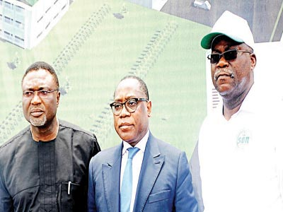 Enugu State Deputy Governor, Ralph Nwoye (left); Minister of Industry, Trade and Investment, Olusegun Aganga; and Director-General, Standards Organsation of Nigeria (SON), Dr. Joseph Odumodu during the inaugurated the nation's first Metrology Institute in Enugu.