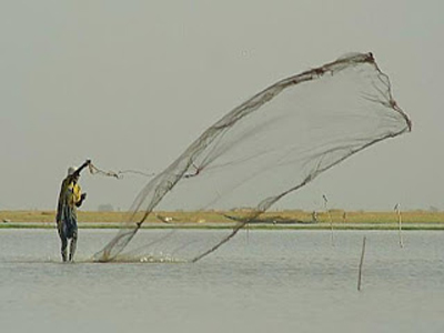 Swinging fishing net-ive ojogolo