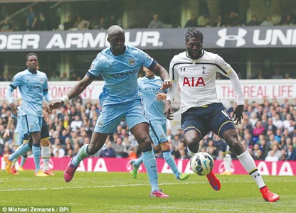 Adebayor (right) recently returned to action after a lengthy spell on the sidelines