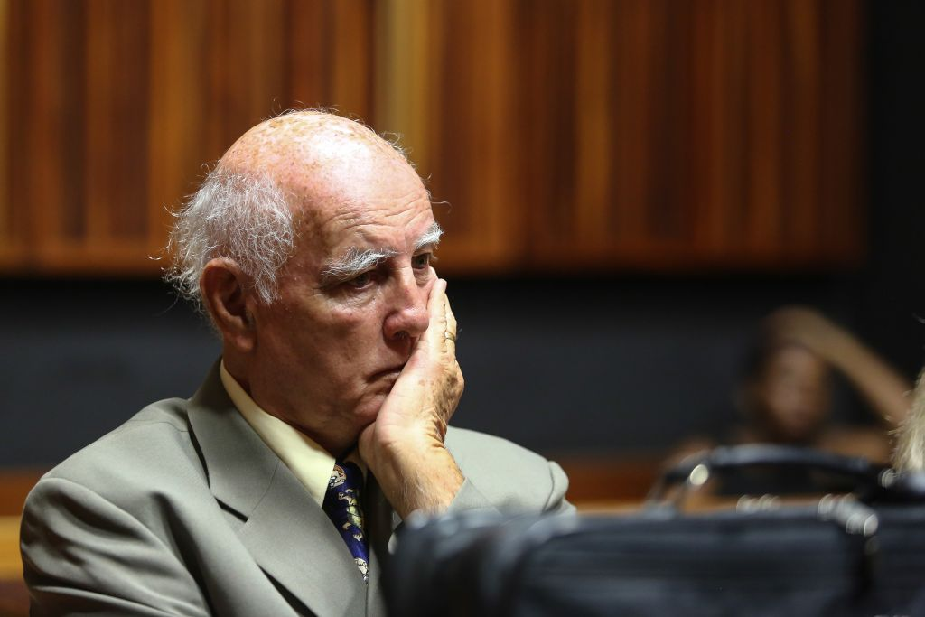 PALM RIDGE, SOUTH AFRICA – FEBRUARY 10: Australian-born former tennis champion Bob Hewitt appears in the Johannesburg High Court, sitting in Palm Ridge on February 10, 2015 in Palm Ridge, South Africa. Hewitt has been appeared in court yesterday following allegations that he sexually abused three girls he coached in 1981 and 1982 respectively. One of Hewitt's alleged victims testified in court yesterday, on how he allegedly abused her on a tennis training trip to Sun City. (Photo by Gallo Images / The Times / Moeletsi Mabe)