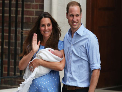 Prince Williams and Kate after the birth of their first child