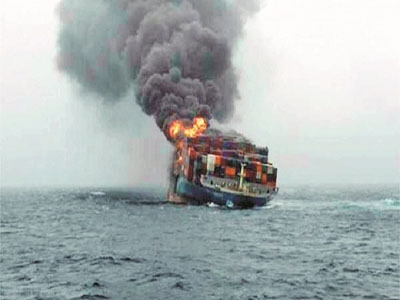 bombed Turkish dry cargo ship. Photo; bngnews