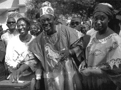 Abiola cast his vote during the 1993 presidential election
