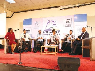 Symposium panelists, Dr. Blessing Ahiazu; Mr. Promise Ogochukwu; Mr. Uzo Nwamara; Ms. Onyi Sunday; Mr. Chibuike Akwarandu and Mr. Breni Fiberesima on the success and challenges of PHWBC 2014