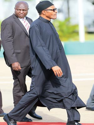 President Buhari leaving for the AU Summit in South Africa... yesterday.           PHOTO: STATE HOUSE