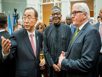 UN Secretary General Mr. Ban Ki Moon, President Muhammadu Buhari and Foreign Minister of Germany, FW Steinmeier at the cocktail reception at the G7 summit