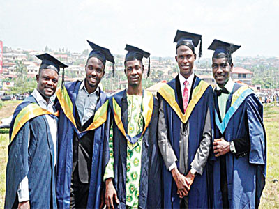 Agbami scholarship beneficiaries during their graduation at University of Ibadam