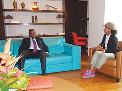 President Conde (left) being interviewed by Zuriel