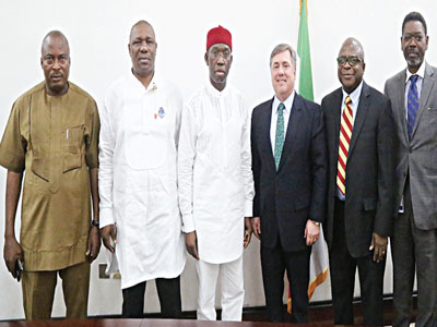 Delta State Governor Ifeanyi Okowa (third left), Managing Director of Chevron Nigeria Limited and some officials of the company at Government House, Asaba.