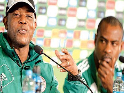 Super Eagles' Coach, Stephen Keshi (left) and the team's captain, Vincent Enyeama, are being investigated by the NFF.