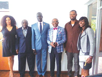 Former D'Tigresses Captain, Mfon Udoka (left), FIBA Africa Zone Three President, Col. Sam Ahmedu, NBA Vice President, Africa, Amadou Gallo-Fall, President of the Dan Ngerem Foundation, Dan Ngerem, who is also the Chairman of Dodan Warriors, D'Tigers' former Captain, Julius Nwosu, and former D'Tigresses and WNBA star, Matabene Amachree, during a media parley involving NBA officials and Nigerian Basketball stakeholders in Lagos…yesterday.