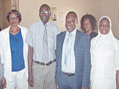 Nurse, Mrs. Adedoyin Omawumi, from Sobi Special Hospital, Ilorin, Kwara State (left); Chief Medical Director, Sobi Special Hospital, Dr. Musa Sanni; Country Project Manager, Fistula Care Plus, Dr. Habib Sadauki and Mrs. Iyabo Apalando, nurse from Sobi during Journalists visit to the hospital. PHOTO: PAUL ADUNWOKE