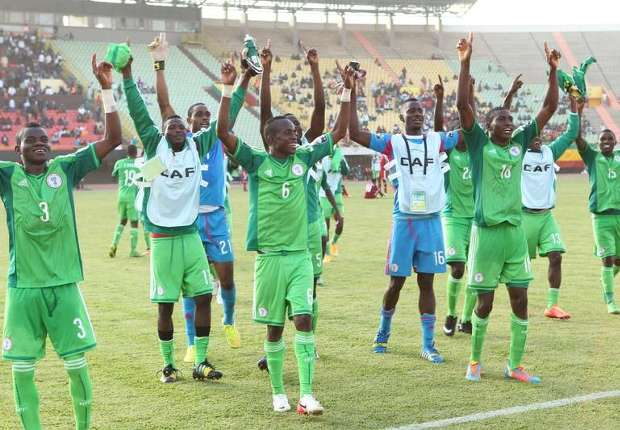 The Flying Eagles...after qualifying for the 2nd Round of the 2015 FIFA U-20 World Cup on sunday PHOTO: Goal.com