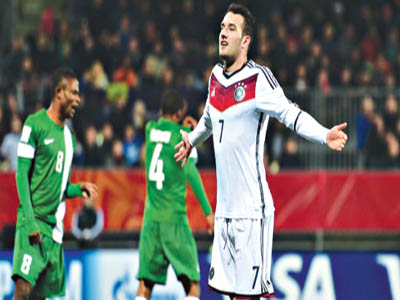 Germany's Levin Oeztunali celebrates his match winner against Nigeria…yesterday.                  PHOTO: FIFA