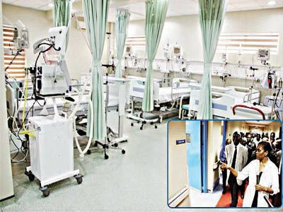 A dialysis ward (inset)Fashola on inspection