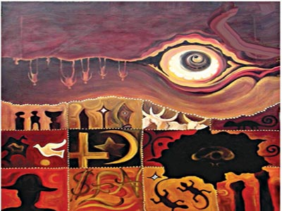 What the Seer Saw (acrylic on canvas, 2015, 101.5cm X 122) by Krydz Ikwuemesi.