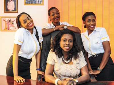 Janet Adetu and her team during the training