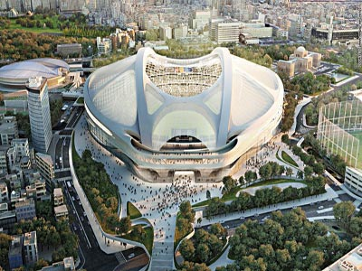 Artist impression of Tokyo Olympic Stadium, designed by Zaha Hadid