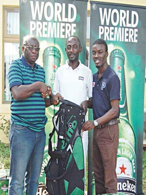 Public Affairs Manager, South Region, Nigeria Breweries Plc, Isaac Nwabuzor (left),overall winner of the Heineken Sponsored SPG Open, Kalio Isoboye and the Assistant Brand Manager, Heineken, Kolawole Akintimehin during the awards presentation at the just concluded tourney at the Le Meridien Ibom Golf resort Uyo.