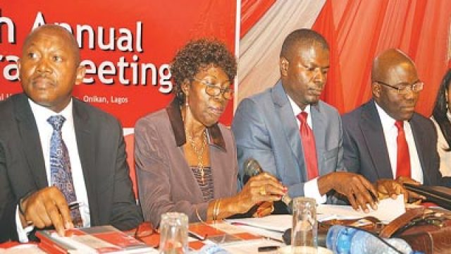 Managing Director, Law Union & Rock Insurance Plc, Jide Orimolade (left); Chairman, Mrs. Adenike Adeniran; Company Secretary, Stan Chikwendu; and Vice Chairman, Remi Babalola, during the company's 46th yearly general meeting in Lagos