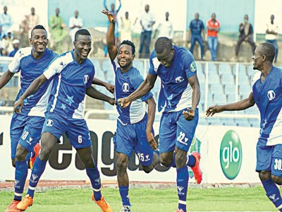 3SC players celebrating one of their goals in a recent league game. PHOTO: FEMI ADEBESIN-KUTI.