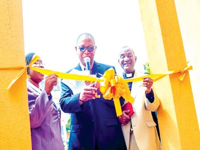 CRM,  Chapel of the Healing Cross, Ven. Tunde Osho (right) and his wife; CMD, LUTH, Prof. Chris Bode (middle) during the dedication and opening ceremony of N14million crèche