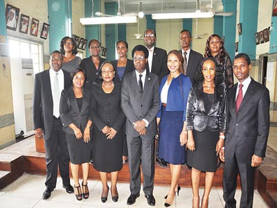Chairman of the Lagos branch of the Nigeria Bar Association (NBA), Mr. Alex Muoka (centre), with a cross section of members of the Executive Committee of (NBA), Lagos Branch and Law Week Committee at a Press Conference at Lagos High Court Foyer, Igbosere to herald the Law Week