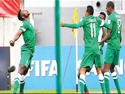 The Flying Eagles celebrating one of their goals against Brazil at the on-going FIFA U-20 World Cup. The team was beaten 4-2 by the South Americans… on Monday.   PHOTO: thenff.com