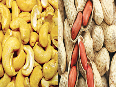 Cashew nuts  and           Groundnuts (peanuts)