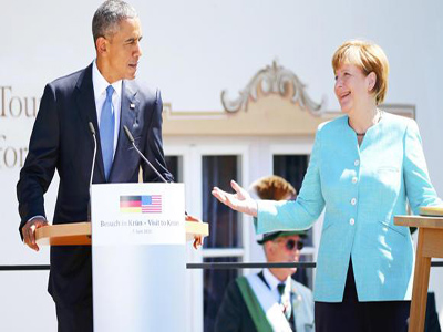 German Chancellor Angela Merkel and US President Barack Obama make speeches before meeting with fellow leaders of the Group of Seven (G7) industrial nations in the Bavarian Alps. (REUTERS/Hannibal Hanschke)