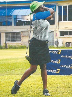Ikoyi Ladies Club Championship, defending champion, Evelyn Oyome, watching her drive on the club's fairway during a past tourney