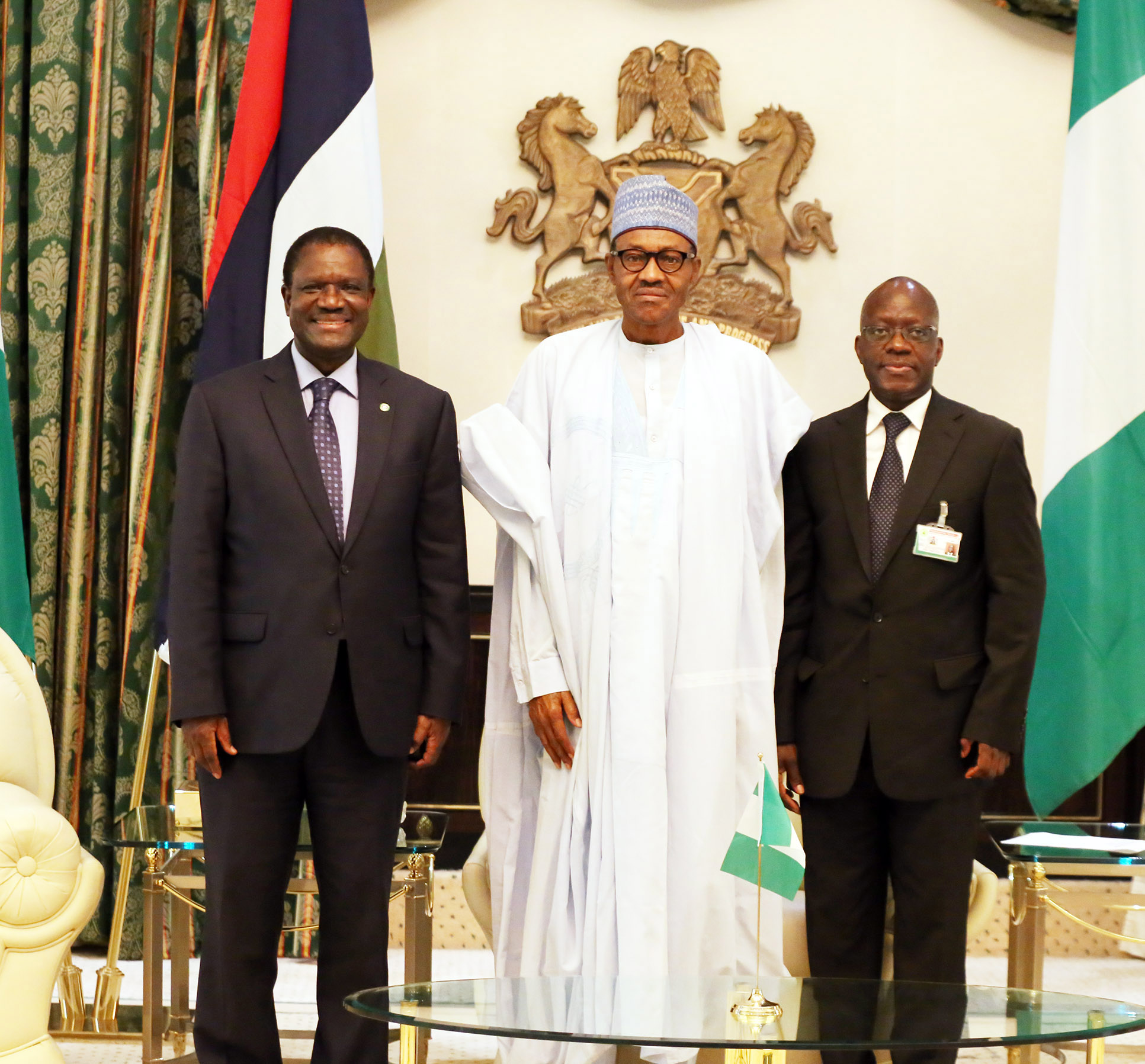 PRESIDENT BUHARI RECEIVES ECOWAS PRESIDENT 00B. President Muhammadu Buhari (M) flanked by ECOWAS President Kare Desire Ouedraogo and th Permanent Secretary Ministry of foreign Affairs, Ambassador Bulus Lolo at the Presidential Villa in Abuja. PHOTO; OFFICE OF THE PRESIDENT JUNE 25 2015