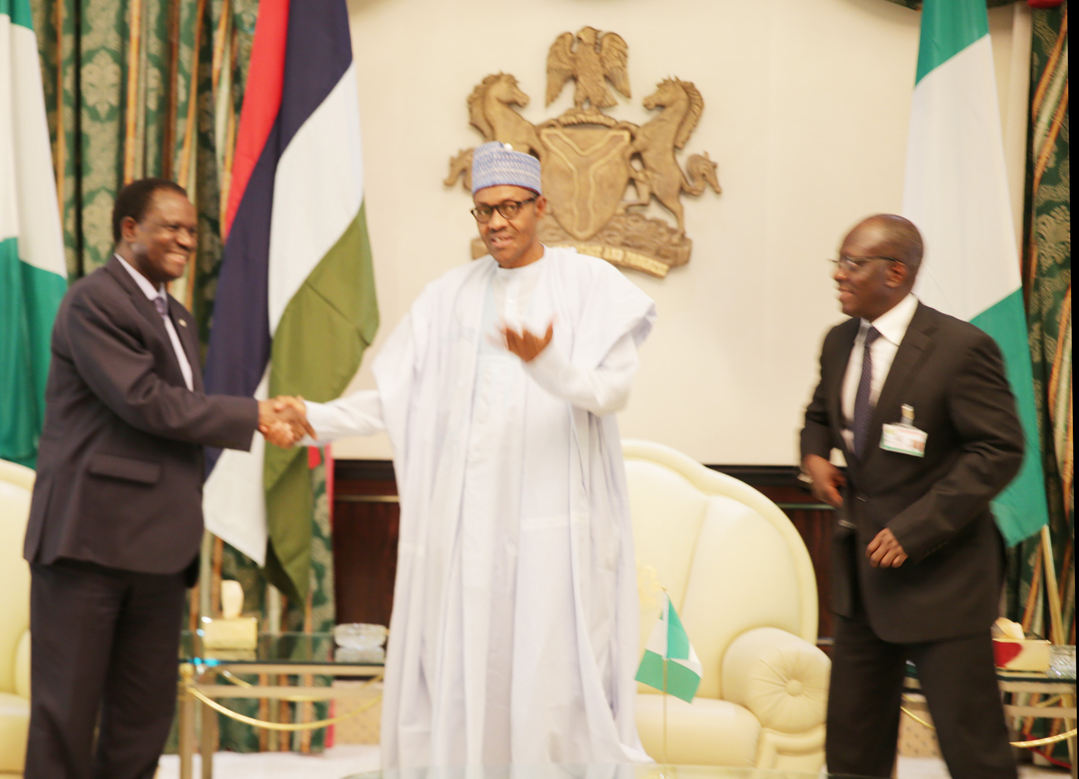 PRESIDENT BUHARI RECEIVES ECOWAS PRESIDENT 1A. President Muhammadu Buhari (M) flanked by ECOWAS President Kare Desire Ouedraogo left and the Permanent Secretary Ministry of foreign Affairs, Ambassador Bulus Lolo at the Presidential Villa in Abuja. PHOTO; OFFICE OF THE PRESIDENT JUNE 25 2015