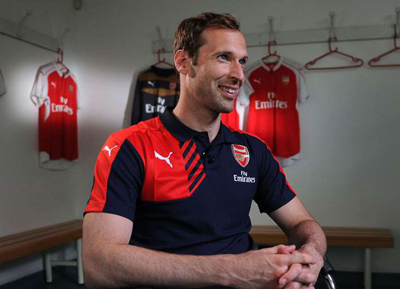 Petr Cech at Arsenal unveiling