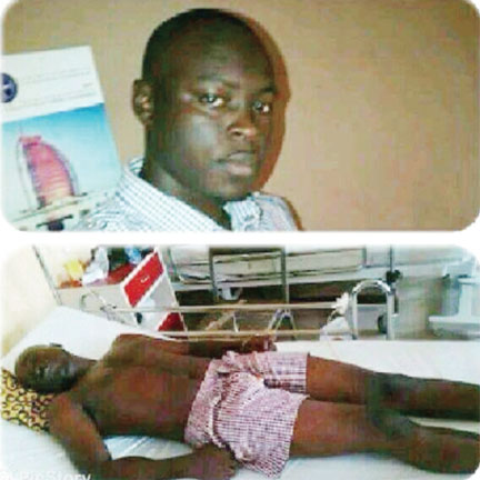 The late Onianwa  on hospital bed
