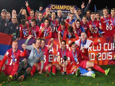 Serbian players celebrate after defeating Brazil 2-1 after extra time to emerge winners of the Under-20 World Cup held in Auckland, New Zealand, yesterday.      PHOTO: AFP